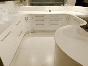 white Hi-macs kitchen worktop