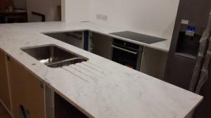 white Carrara kitchen worktop