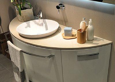 quartz vanity with Corian basin