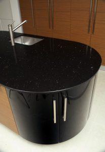 Black sparkles quartz kitchen worktop