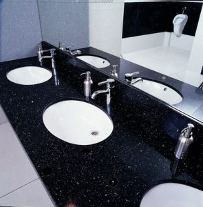 black sparkles quartz vanity top