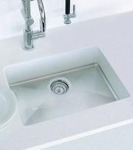 white Corian sink
