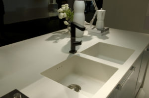 Corian kitchen worktop and sinks